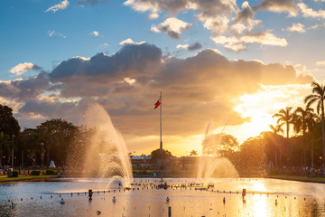 Fountain at Rizal Park at sunset, Manila, Philippines