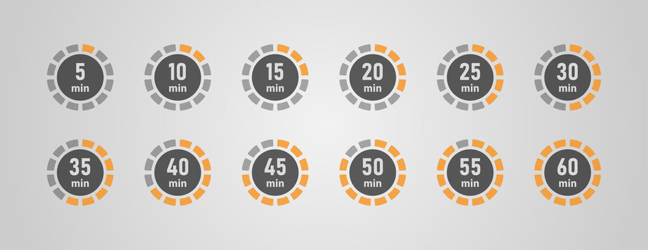 Timer icons set, twelve timer indicators from 5 minutes to 60 minutes, vector illustration.
