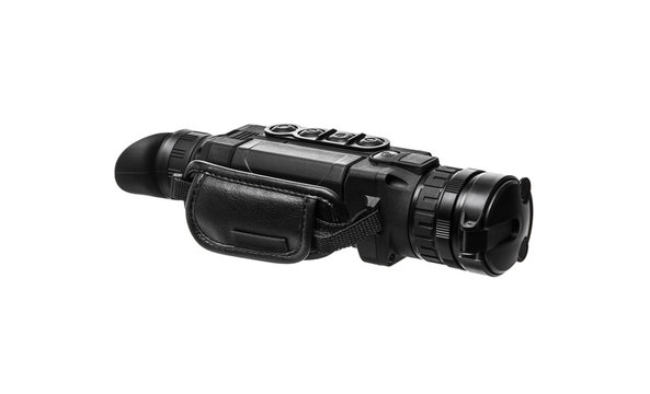 Black steel night-vision monocular army devise on white background. Night Vision Monocular isolated on a white back.