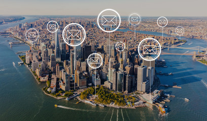 Emails with aerial view of Manhattan, NY skyline