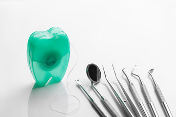 Wall Mural - dental tools on white background top view
