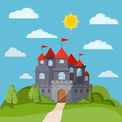 Cartoon flat style fairy tale background with grey stone castle tower with green trees and bushes, clouds, sun, fields, road. Vector banner illustration for children with fairy castle and landscape.