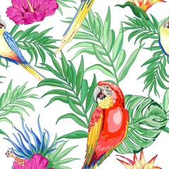 Photo sur Plexiglas Draw Macaws Parrots Exotic Birds and Nature Summer Vector Seamless Pattern Textile Design