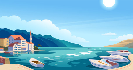 Deurstickers Blauw Vector flat landscape illustration of beautiful nature view: sky, mountains, water, cozy European town houses on sea coast. For travel banner, card, vacation touristic advertising, brochure, flayer.