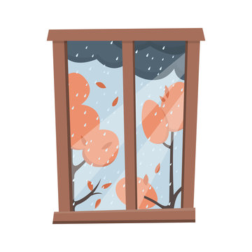 Window with a rainy autumn view. Flat style vector illustration.