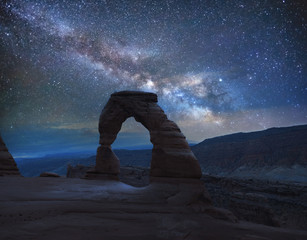 Printed roller blinds Gray traffic Delicate Arch under the Milky Way