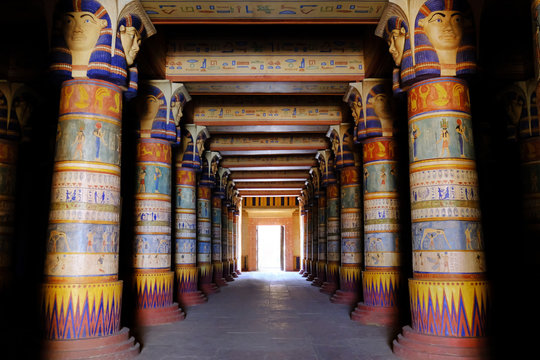 Ouarzazate / Morocco - 1 28, 2019: Atlas Film Studios is the largest film studio in the world. Egypt style pavilion