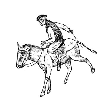 Man Rider in national clothes. Greek on horse or donkey. Symbol of ancient Greece. Hand drawn engraved vintage sketch for poster, banner or website.