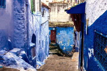 Deurstickers Chefchaouen, a city with blue painted houses. A city with narrow, beautiful, blue streets.