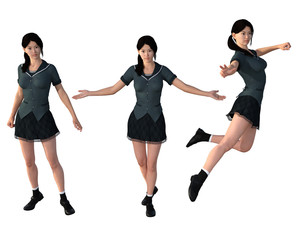 Pretty woman in a short dress. 3d renderings. 3d illustrations.