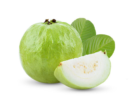 Guava fruit with leaf isolated on white background . full depth of field