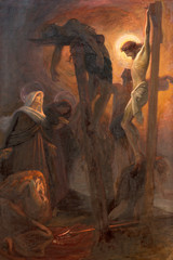 Wall Mural - COMO, ITALY - MAY 8, 2015: The painting of Crucifixion in church Santuario del Santissimo Crocifisso as the part of Via Crucis by Pnziano Loverini (1917).