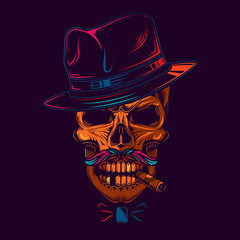 Original vector illustration in neon style. Skull gangster in hat, with mustache, and cigar in mouth