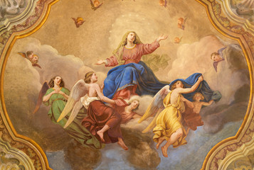COMO, ITALY - MAY 8, 2015: The ceiling fresco of Assumption of Virgin Mary in church Santuario del Santissimo Crocifisso by Gersam Turri (1927-1929). Wall mural