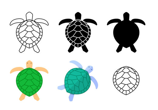 Set of turtle icons and sign in vector art