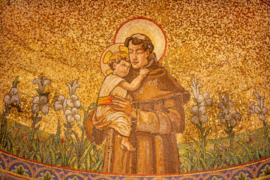BELAGGIO, ITALY - MAY 10, 2015: The mosaic of St. Anthony of Padus in church Chiesa di San Giacomo by Venetian school from end of 19. cent.