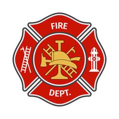 Fire department emblems, labels, badges and logos on light background. Vector Illustration