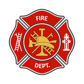 Fire department emblems, labels, badges and logos on light background. Vector Illustration