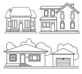 Set of Homes exterior front view vector line illustration.