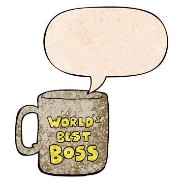 worlds best boss mug and speech bubble in retro texture style