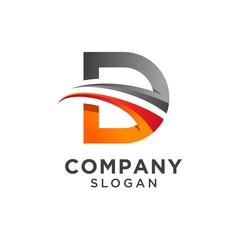 Fototapeta creative letter d logo design. vector illustration obraz