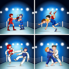Set of different fighting scenes