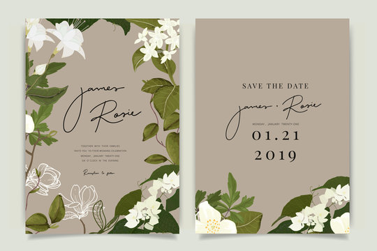 Eco Brown Wedding Invitation, floral invite thank you, rsvp modern card Design in white flower with leaf greenery  branches decorative Vector elegant rustic template