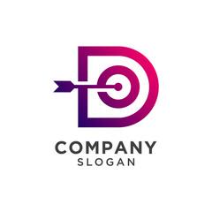 initial letter d with target icon logo design. dartboard symbol vector illustration