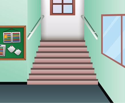 Cartoon hallway interior of school staircase