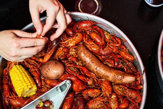 Spicy Crawfish boil ready to eat