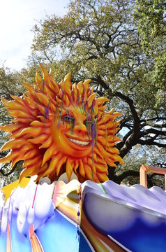 Mardi Gras Sun Float Covered in Beads