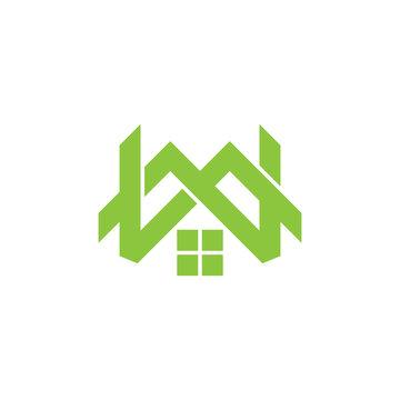 green mountain letter mw home logo vector