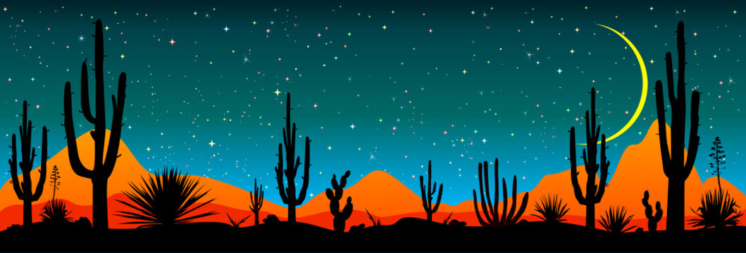 Starry night over the Mexican desert.Desert, cacti, stars night. Starry night over the Mexican desert. Silhouettes of stones, cacti and plants. Desert landscape with cacti. Stony desert