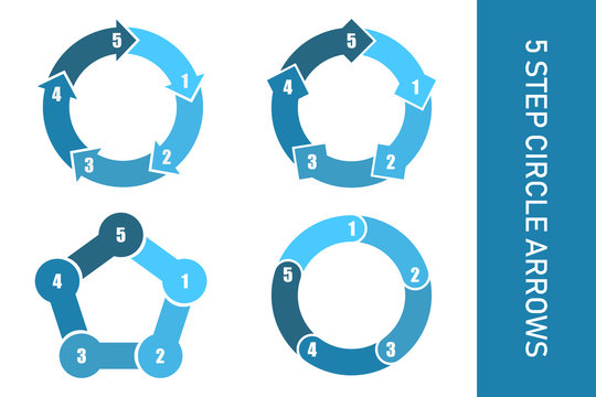 5 step circle arrows collection infographic.