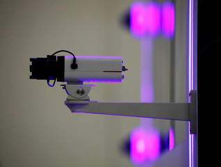 A Huawei surveillance camera is pictured at their booth at Interpol World in Singapore
