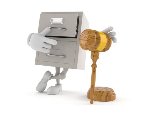 Archive character with gavel