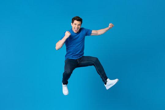American man jumping and enyoying his success