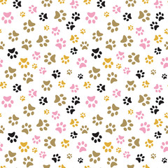 Dog Paw print seamless. Traces of Cat Textile Pattern. Cat footprint seamless pattern. Vector seamless.