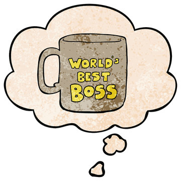 worlds best boss mug and thought bubble in grunge texture pattern style