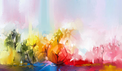 Semi abstract tree ,field, meadow. Abstraction Landscape nature, contemporary art for background