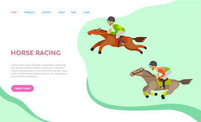 Fototapeta Horse racing people vector, person on animals horseback, male wearing helmet protecting from hits, person in equine sports, equestrian hobby. Website or webpage template, landing page flat style