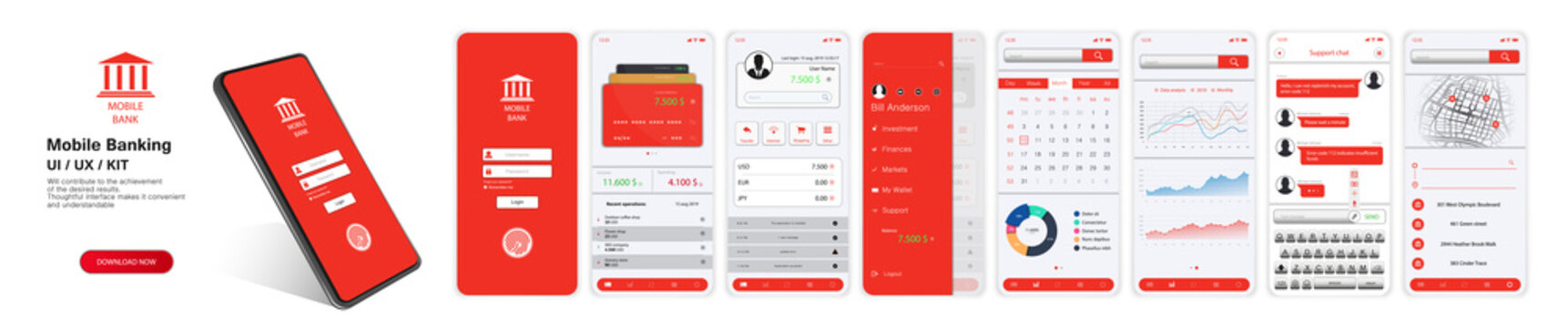 Design Mobile Banking App. UI, UX, KIT. Mockups screens for mobile banking or website with different GUI(Login, payment detailed data statistics, money transfers and transactions, chat support, map)