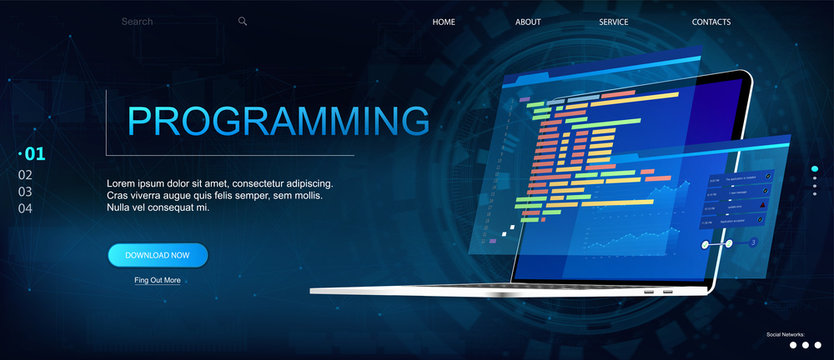 Programming or Software development web page template. Vector illustration with laptop isometric view and program code on screen. Programming concept. Technology process of Software development