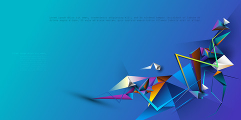 Wall Mural - Vector Abstract 3D Geometric, Polygon background design. Multicolor, blue, purple, yellow and green color in triangle pattern shape. Polygonal background for banner, template, business, web design