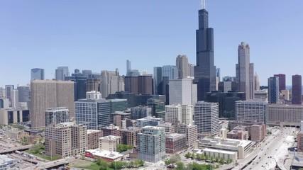Fototapete - Chicago downtown buildings skyline aerial