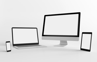 Mock up view of a devices isolated on a background with shadow Wall mural