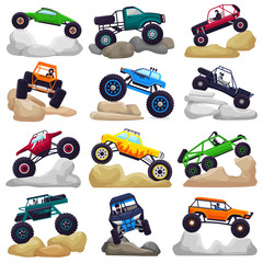 Monster truck vector cartoon vehicle or car and extreme transport crawling in rocks illustration set of heavy rocky monster-truck with large wheels isolated on white background