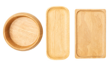 wooden tray and bowl dishware  isolated on white background Wall mural