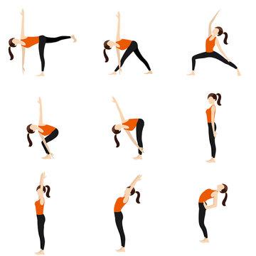 Standing yoga poses set II /Illustration stylized woman practicing standing yoga postures