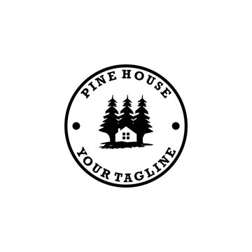 pine house nature lodge logo design